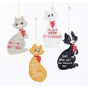 Kitty kat glade ansigt Meow holdning Christmas Holiday smykker sæt af 4 harpiks