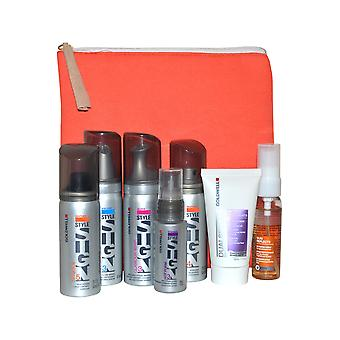 Goldwell Travel Pack - Shampoo, Mousse, Wax Treatment, Paste and Protect with Bag