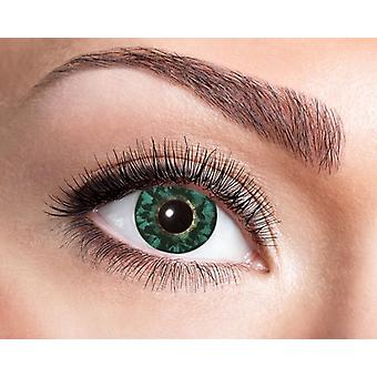 Natural contact lens black and lime-green feathery pattern.