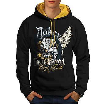 Laugh Card Gamble Men Black (Gold Hood)Contrast Hoodie | Wellcoda