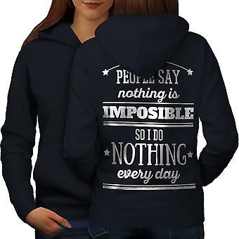 Nothing Impossible Funny Women NavyHoodie Back | Wellcoda