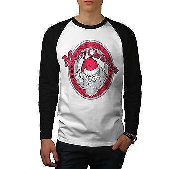 Sint Santa jul menn hvit (svart ermene) Baseball LS t-skjorte   Wellcoda