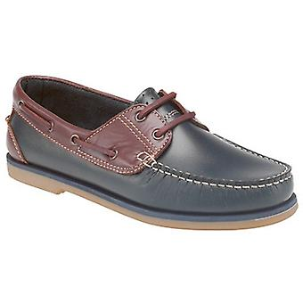 Mens Leather Nubuck Two Tone Leather Lined Casual  Boat Deck Shoes