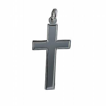 Silber 34x19mm guillochierte Linie Grenze flache lateinisches Kreuz