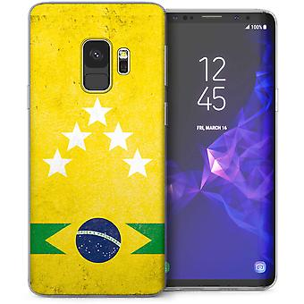 Samsung Galaxy S9 Retro-Brasilien Globus Fußball TPU Gel Case – gelb