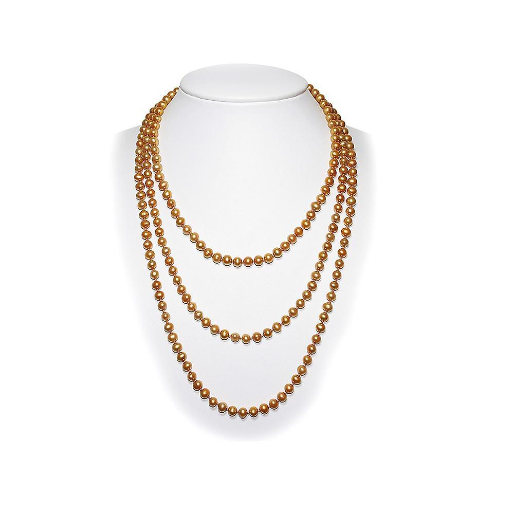 Long Collier Sautoir Femme en Perles de culture d&eau douce de Couleur Or et de 162 cm