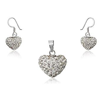 Set female hearts pendant and earrings in Crystal white and Silver 925/1000