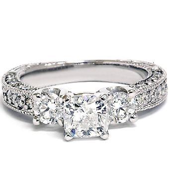 Cojín Vintage de 2 1 / 5ct anillo 14K oro blanco