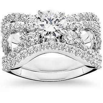 4,00 CT compromiso Trio anillo de boda Set 14K oro blanco