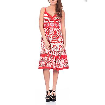 Pistachio, Ladies Sun Flower Flowing Knee Length Summer Dress, Red, Small (UK 8-10)