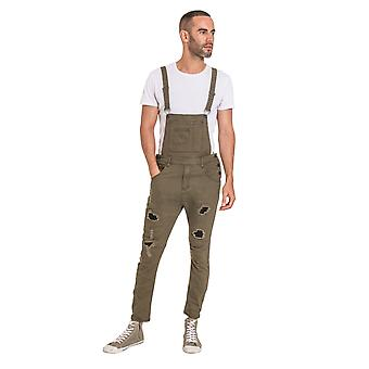 Mens Slim Fit Rip and Repair Dungarees - Green Bib Overalls Abrasion Detail