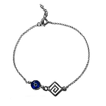 Greek Key Double Sided Evil Eye Adjustable Bracelet Sterling Silver, 7