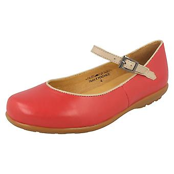 Ladies Easy B Casual Flat Shoes Penzance 78454R - Coral Red/Nude Leather - UK Size 12 2V - EU Size 45 - US Size 14