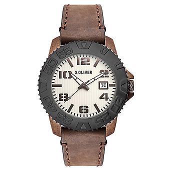 s.Oliver 男性の手首腕時計アナログ クオーツ革など-15154-LQR
