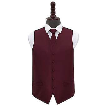 Burgundy Greek Key Wedding Waistcoat & Tie Set