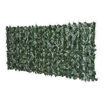Outsunny Artificial Leaf Screen Garden Fence Privacy Panel 2.4M x 1M Dark Green