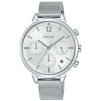 Pulsar Ladies Stainless Steel Case Silver Chronograph Dial PT3943X1 Watch