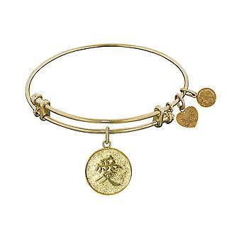 Stipple Finish Brass Chinese Love Angelica Bangle Bracelet, 7.25