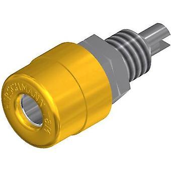 Jack socket Socket, vertical vertical Pin diameter: 4 mm Yellow