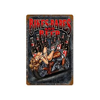Bikes Babes And Beer Metal Sign (Pst 460Mm X 300Mm)