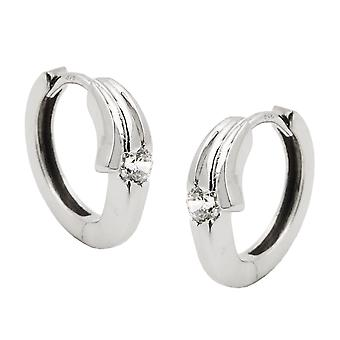 Hoop earrings of white gold hoop earrings white gold 375 Creole, cubic zirconia, 9 KT white gold