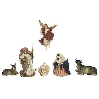 Nativity figurines Orient Oriental fabric clothing 11 PCs 11 cm crib