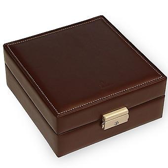 Uhrenbox Uhrenkoffer Uhrenkasten Lederimitat mokka Veloursamt beige für 8 Uhren