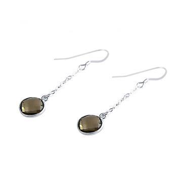 Damen - Ohrringe - Ohrhänger - 925 Silber - Rauchquarz - braun - 2 cm