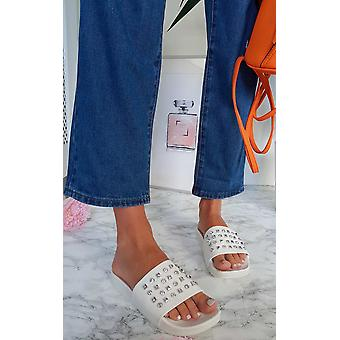 IKRUSH Womens Jessica Studded Chunky Sliders