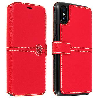 Flip wallet case, Façonnable cover for Apple iPhone X / iPhone XS - Red