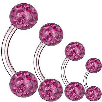 Curved Barbell Titan, Dicke 1,6 mm, Multi Kristall Kugel Pink | 6 - 16 mm