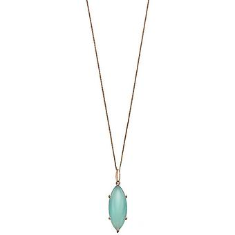Elements Silver Marquise Cab Pendant - Green/Rose Gold