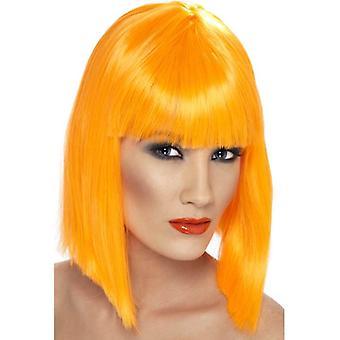 Kort Neon oransje rett parykk, Glam Wig med frynser, Fancy kjole tilbehør.