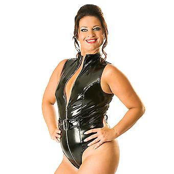 Honour Women's Bodysuit in PVC Black Sexy Silver Zip Bad Girl Persona Costume