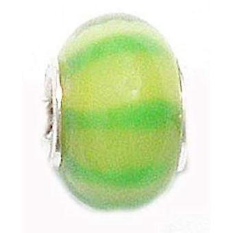 TOC BEADZ Lime Stripey 8mm Glass Slide-On & Bead