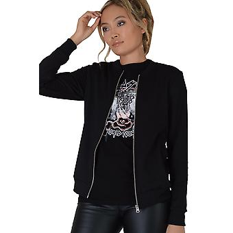 Lovemystyle Black Bomber Jacket With Front Zip Detail