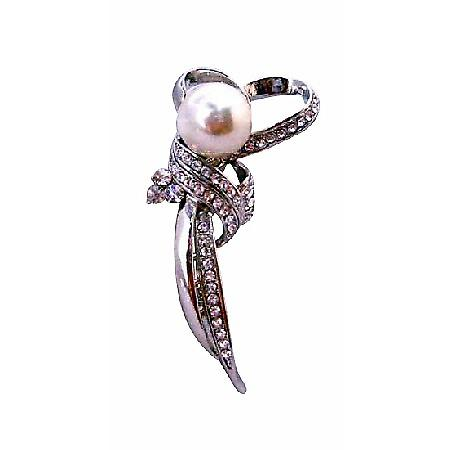 Cheap Wedding Brooch Heart Shaped Stem with Pearl Diamante Brooch