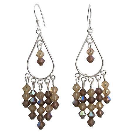 Swarovski Topaz Crystal & Sterling 92.5 Silver Chanderlier Earrings