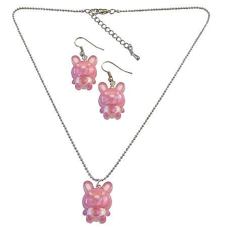Jewelry Pink Rabbit Easter Jewelry Set Necklace & Earrings Girls Gift