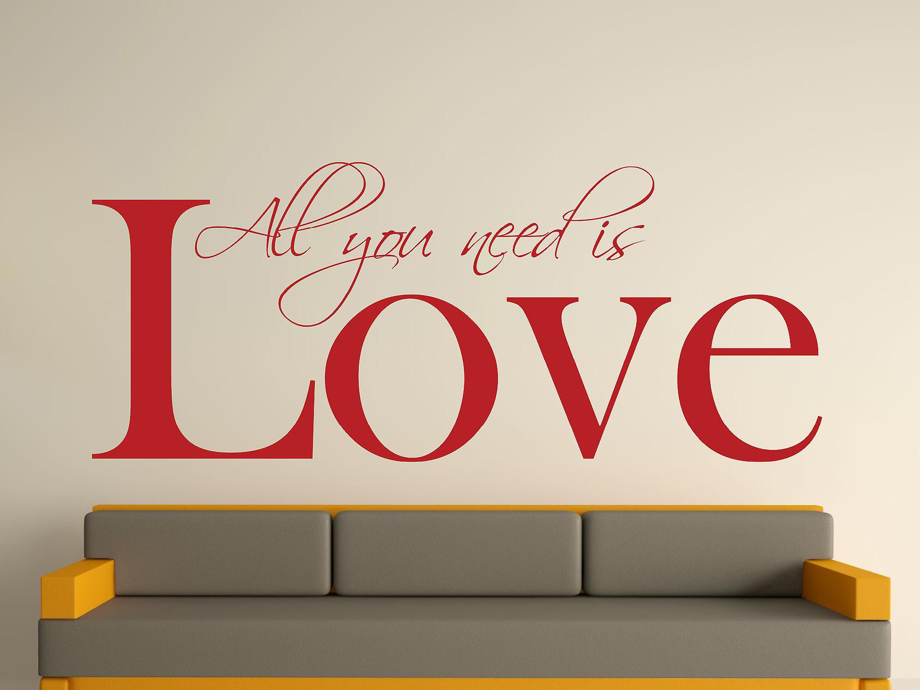 All You Need Wall Art Sticker - Dark Red