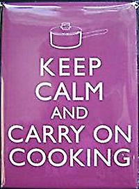 Keep Calm & Carry On Cooking steel fridge magnet   (gg)