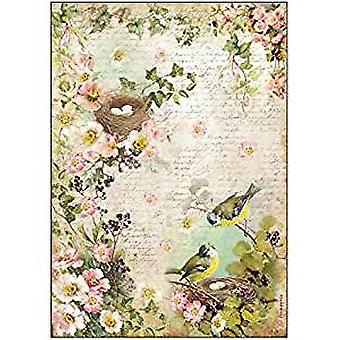 Stamperia Rice Paper A4 Birds with Nest (DFSA4179)