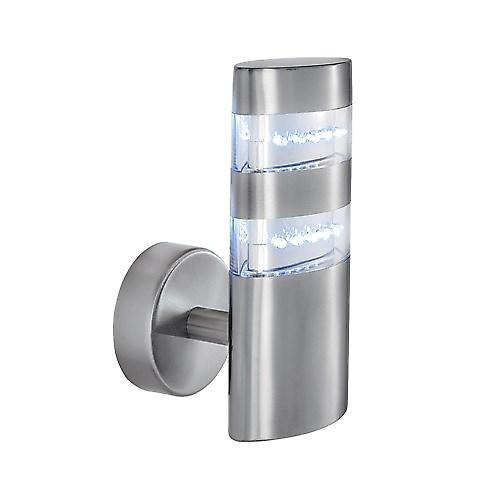 Searchlight 5308 Satin Silver IP44 24 LED Outdoor Wall Light With Clear Diffuser