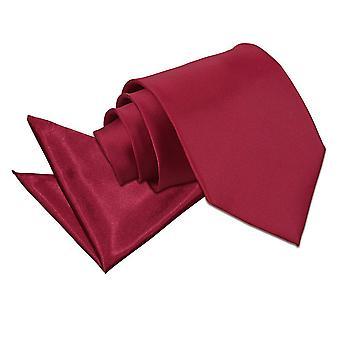 Burgund-Plain Satin Krawatte & Einstecktuch Satz