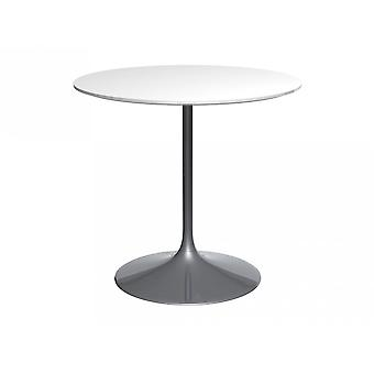 Gillmore Space Pedestal Medium Dining Table White Gloss And Smoked Chrome