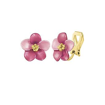 Eternal Collection Anemone Fuchsia Pink Enamel Gold Tone Stud Clip On Earrings