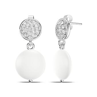 PGA Tour Golf Ball Pattern and Coin Pearl Dangle Earrings