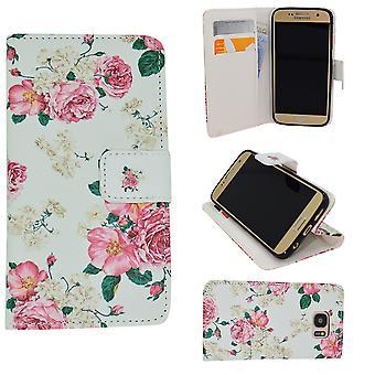 Cas en cuir/Portefeuille-Samsung Galaxy S6-Flower