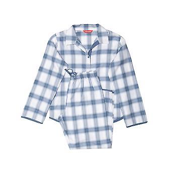 Minijammies 5507 Mädchen's Harper Blue Mix Check Baumwolle Pyjama Set