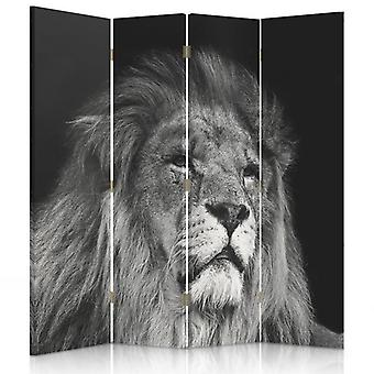 Room Divider, 4 Panels, Double-Sided, Rotatable 360, Canvas, Leo Gray